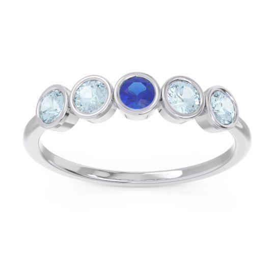 Petite Modern Bezel Saciva Blue Sapphire Ring with Aquamarine in 18k White Gold