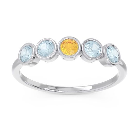 Petite Modern Bezel Saciva Citrine Ring with Aquamarine in 18k White Gold