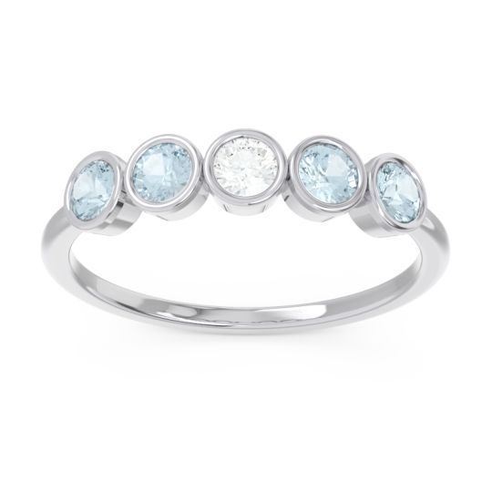 Petite Modern Bezel Saciva Diamond Ring with Aquamarine in 18k White Gold