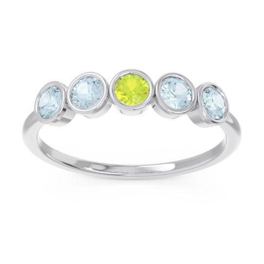 Petite Modern Bezel Saciva Peridot Ring with Aquamarine in 18k White Gold