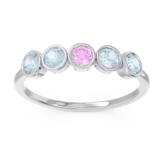 Petite Modern Bezel Saciva Pink Tourmaline Ring with Aquamarine in 18k White Gold
