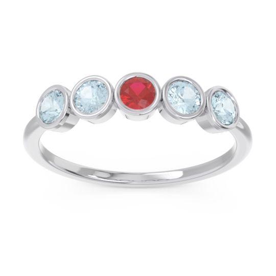 Petite Modern Bezel Saciva Ruby Ring with Aquamarine in 18k White Gold