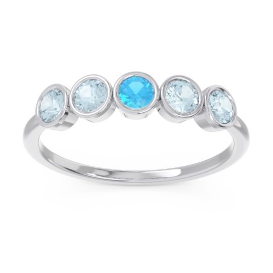 Petite Modern Bezel Saciva Swiss Blue Topaz Ring with Aquamarine in 18k White Gold