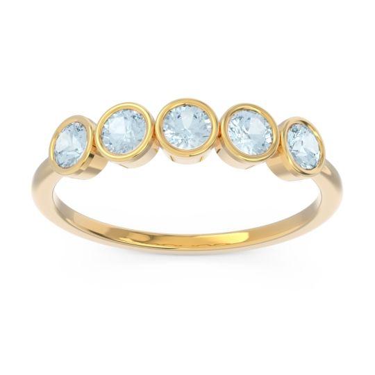 Petite Modern Bezel Saciva Aquamarine Ring in 14k Yellow Gold