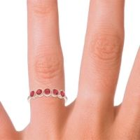 Petite Modern Bezel Saciva Ruby Ring in 14K Rose Gold