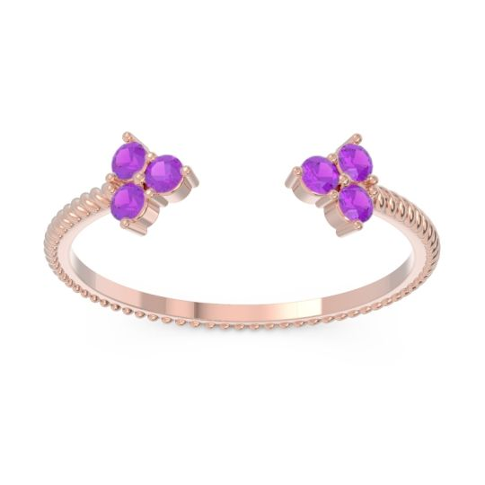 Petite Modern Open Pave Rajju Amethyst Ring in 18K Rose Gold