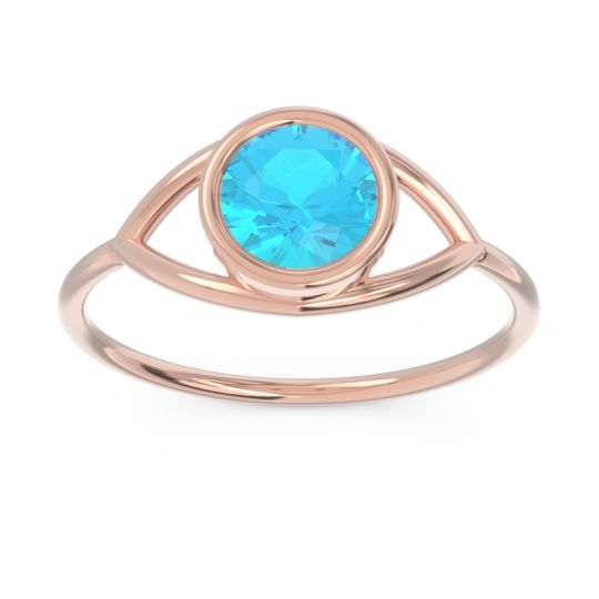 Modern Bezel Iksa Swiss Blue Topaz Ring in 14K Rose Gold