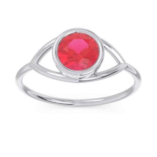Modern Bezel Iksa Ruby Ring in 14k White Gold