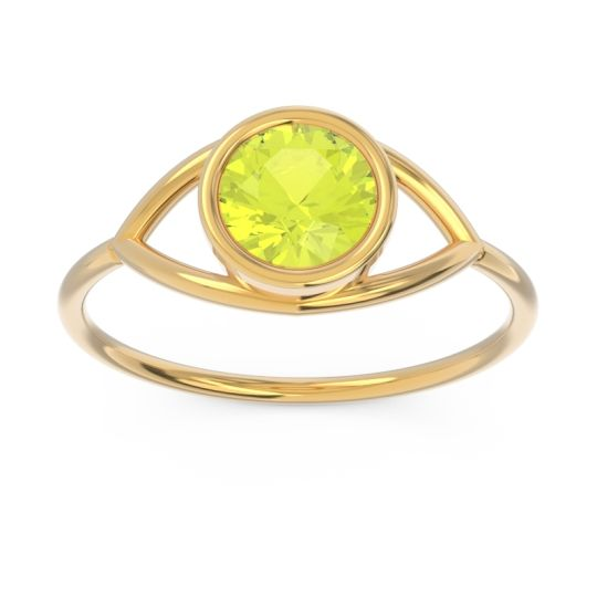 Modern Bezel Iksa Peridot Ring in 14k Yellow Gold