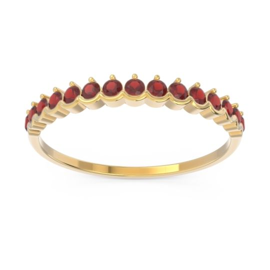 Petite Modern Part Bezel Prapata Garnet Ring in 14k Yellow Gold