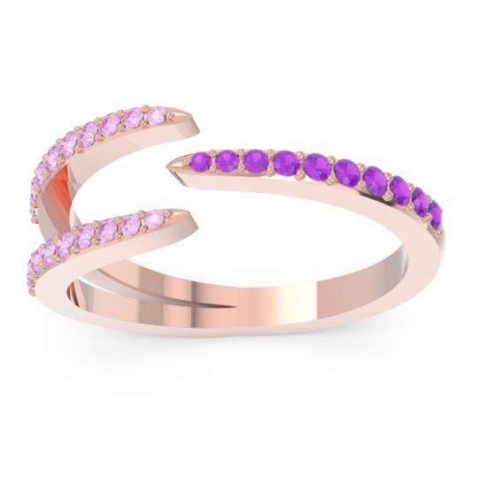 Petite Modern Open Pave Saggraha Amethyst Ring with Pink Tourmaline in 14K Rose Gold
