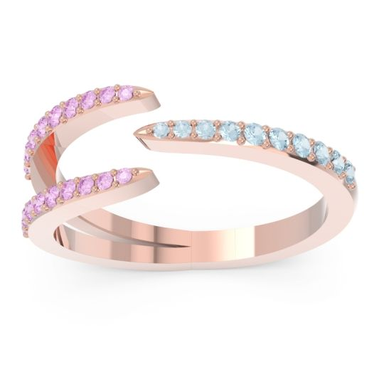 Petite Modern Open Pave Saggraha Aquamarine Ring with Pink Tourmaline in 18K Rose Gold