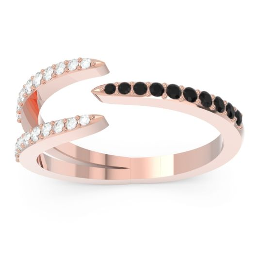 Petite Modern Open Pave Saggraha Black Onyx Ring with Diamond in 14K Rose Gold