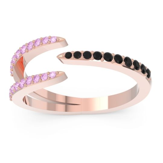 Petite Modern Open Pave Saggraha Black Onyx Ring with Pink Tourmaline in 14K Rose Gold