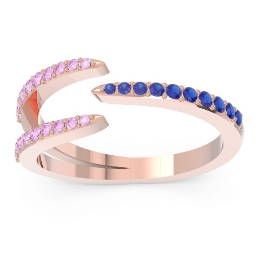 Petite Modern Open Pave Saggraha Blue Sapphire Ring with Pink Tourmaline in 14K Rose Gold