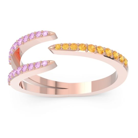 Petite Modern Open Pave Saggraha Citrine Ring with Pink Tourmaline in 14K Rose Gold