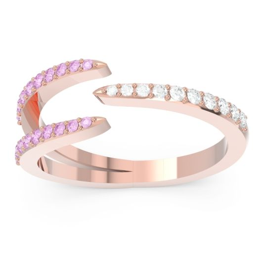 Petite Modern Open Pave Saggraha Diamond Ring with Pink Tourmaline in 14K Rose Gold
