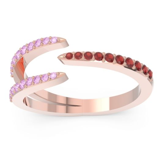 Petite Modern Open Pave Saggraha Garnet Ring with Pink Tourmaline in 14K Rose Gold