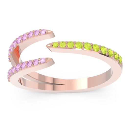 Petite Modern Open Pave Saggraha Peridot Ring with Pink Tourmaline in 14K Rose Gold