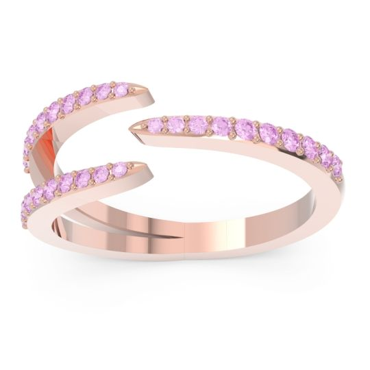 Petite Modern Open Pave Saggraha Pink Tourmaline Ring in 14K Rose Gold