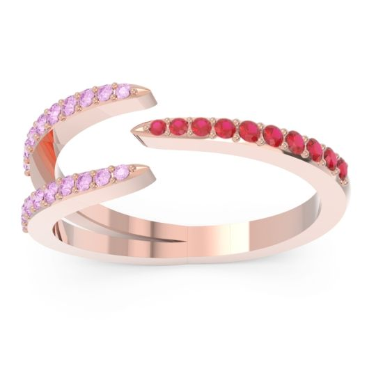 Petite Modern Open Pave Saggraha Ruby Ring with Pink Tourmaline in 14K Rose Gold