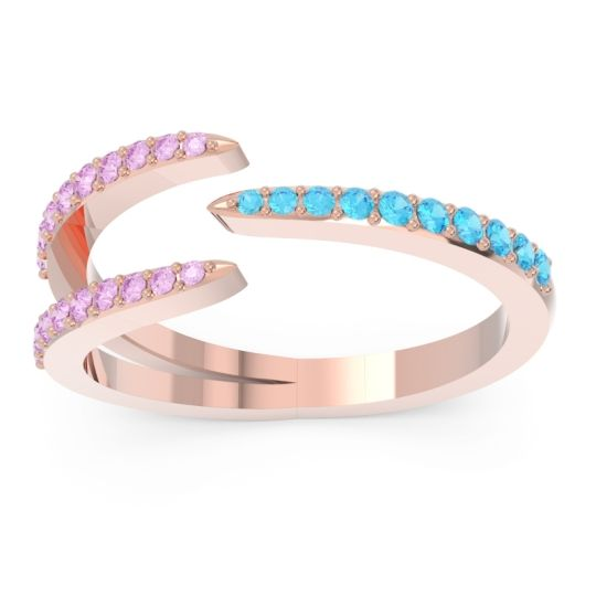 Petite Modern Open Pave Saggraha Swiss Blue Topaz Ring with Pink Tourmaline in 14K Rose Gold