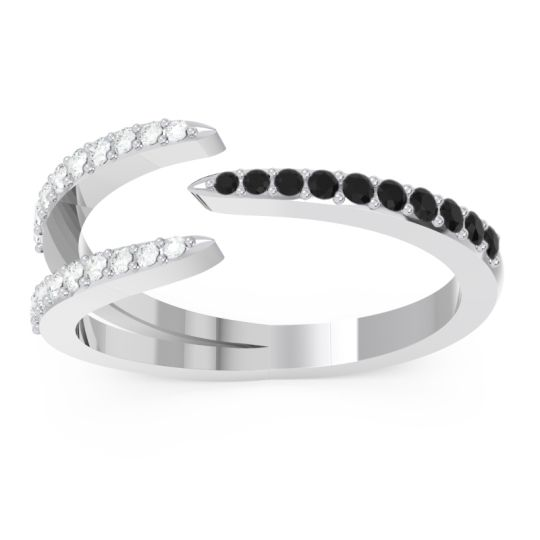 Petite Modern Open Pave Saggraha Black Onyx Ring with Diamond in 14k White Gold