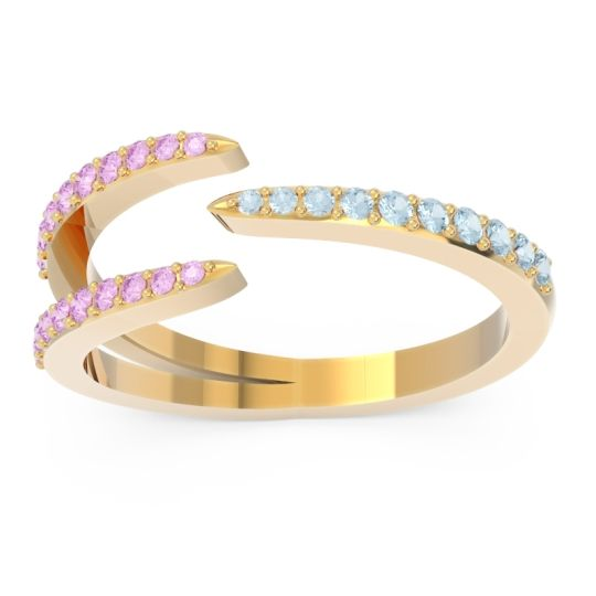 Petite Modern Open Pave Saggraha Aquamarine Ring with Pink Tourmaline in 14k Yellow Gold