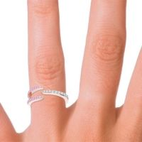 Petite Modern Open Pave Saggraha Aquamarine Ring with Pink Tourmaline in 14K Rose Gold