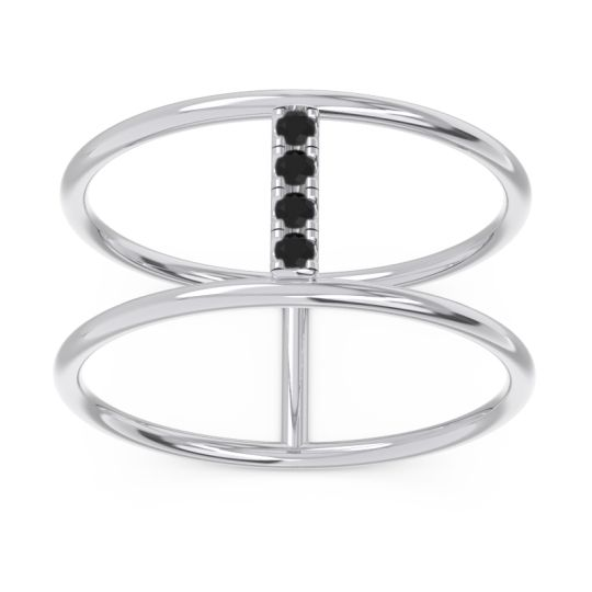 Petite Modern Double Line Samyojana Black Onyx Ring in 14k White Gold