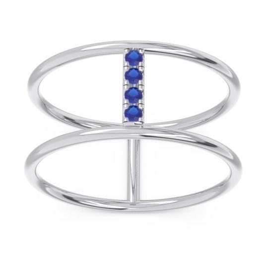 Petite Modern Double Line Samyojana Blue Sapphire Ring in 14k White Gold