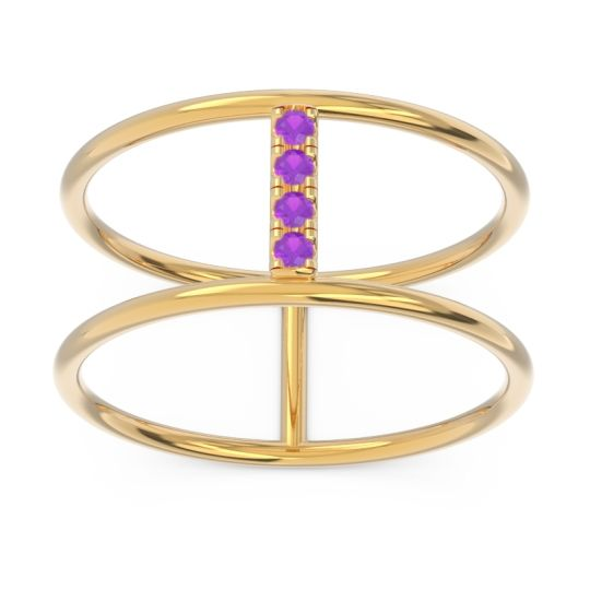 Petite Modern Double Line Samyojana Amethyst Ring in 14k Yellow Gold