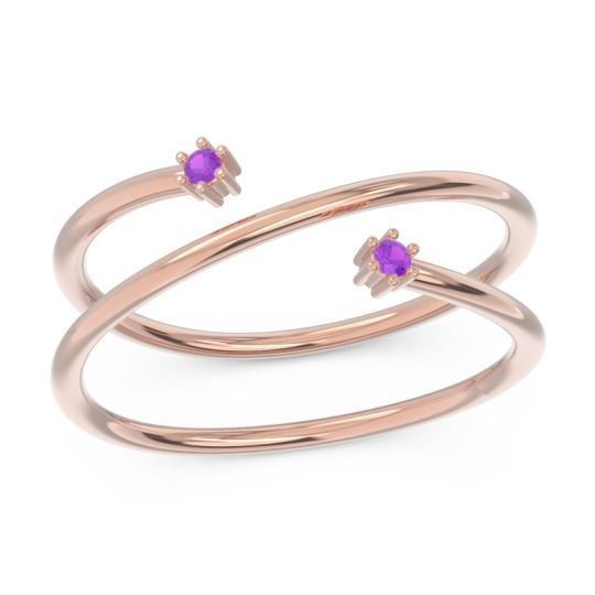 Petite Modern Open Double Line Sabha Amethyst Ring in 14K Rose Gold
