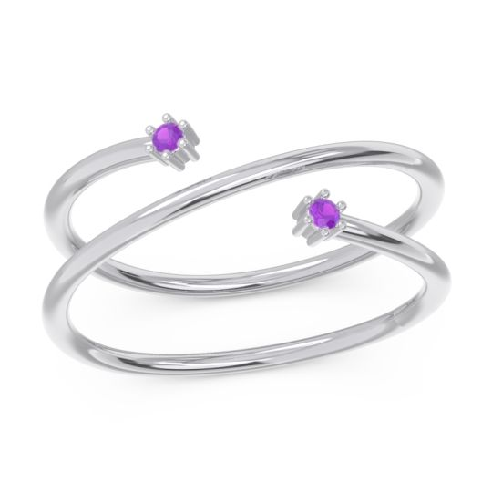 Petite Modern Open Double Line Sabha Amethyst Ring in Platinum