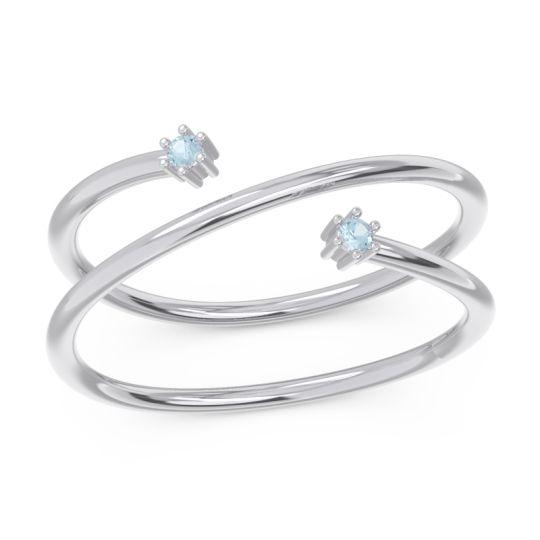 Petite Modern Open Double Line Sabha Aquamarine Ring in 14k White Gold