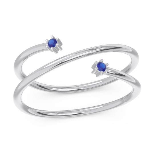 Petite Modern Open Double Line Sabha Blue Sapphire Ring in 14k White Gold