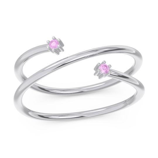 Petite Modern Open Double Line Sabha Pink Tourmaline Ring in 14k White Gold