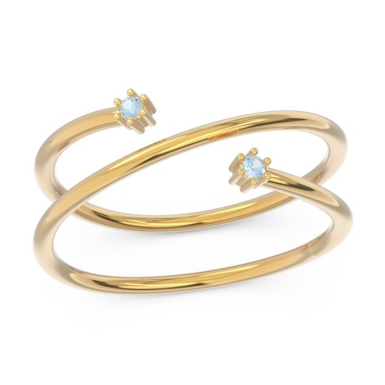 Petite Modern Open Double Line Sabha Aquamarine Ring in 14k Yellow Gold