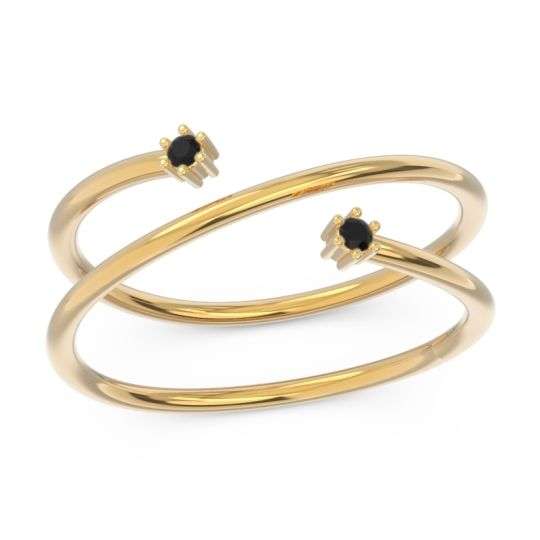 Petite Modern Open Double Line Sabha Black Onyx Ring in 14k Yellow Gold