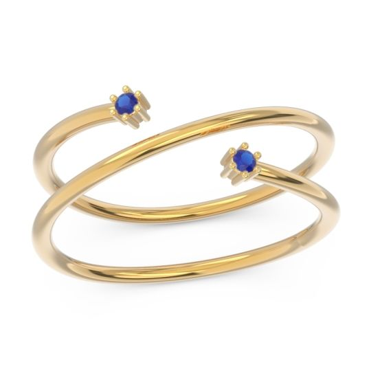 Petite Modern Open Double Line Sabha Blue Sapphire Ring in 14k Yellow Gold