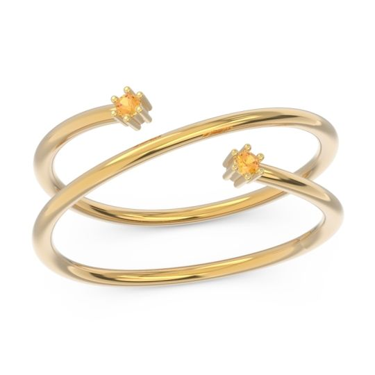 Petite Modern Open Double Line Sabha Citrine Ring in 14k Yellow Gold