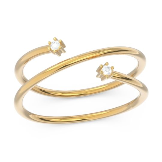 Petite Modern Open Double Line Sabha Diamond Ring in 14k Yellow Gold