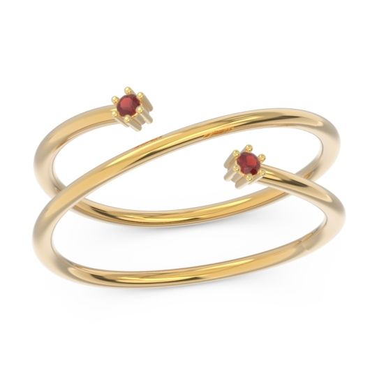 Petite Modern Open Double Line Sabha Garnet Ring in 14k Yellow Gold