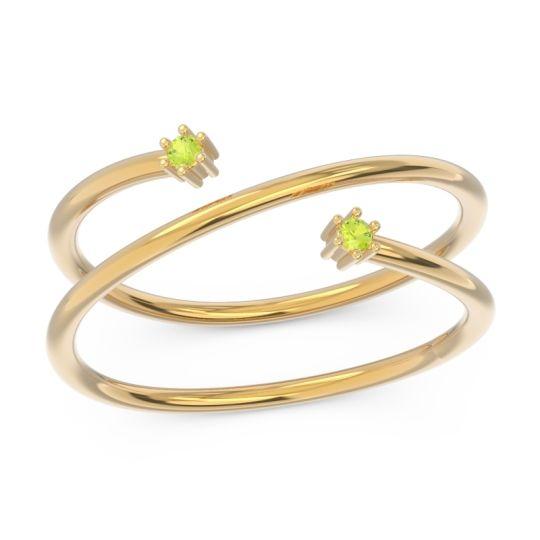 Petite Modern Open Double Line Sabha Peridot Ring in 14k Yellow Gold