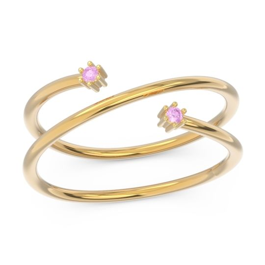 Petite Modern Open Double Line Sabha Pink Tourmaline Ring in 14k Yellow Gold