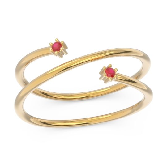 Petite Modern Open Double Line Sabha Ruby Ring in 14k Yellow Gold