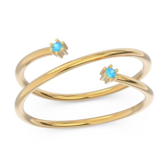 Petite Modern Open Double Line Sabha Swiss Blue Topaz Ring in 14k Yellow Gold