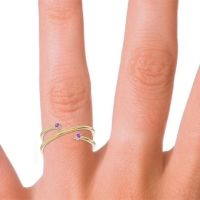 Petite Modern Open Double Line Sabha Amethyst Ring in 14k Yellow Gold