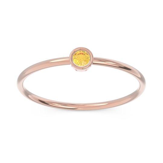 Petite Modern Bezel Dvidala Citrine Ring in 14K Rose Gold