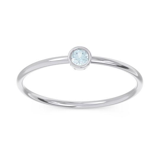 Petite Modern Bezel Dvidala Aquamarine Ring in 14k White Gold